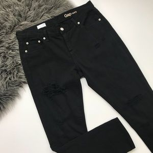 Gap | Black Distressed Girlfriend Fit Jeans